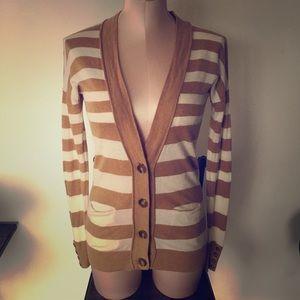 Tan/ white striped cardigan